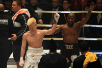Floyd Mayweather, Mayweather, and Three: EATHER  OTIONS  TBE  PONOS  AUBE B Floyd Mayweather makes $9 million in 139 seconds after easily defeating Tenshin Nasukawa with three knockdowns