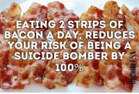 EATING 2 STRIPS OF  BACON A DAY, REDUCES  YOUR RISK OF BEING A  SUICIDE BOMBER BY  100%