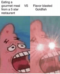 Goldfish, Memes, and Restaurant: Eating a  gourmet meal  from a 5 star  restaurant  VS  Flavor blasted  Goldfish I think we're on to something here ladies and gents 😳