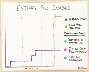 """Funny, Taken, and How: EATING AN EDIBLE  . #Bres TAKEN  How HiaH  ou ARe  THINGS ou SA  NOTHING S  HAPPENING""""  I STILL DONT  Fer AuuTHING  CALL AN  AmguLANCE"""" Eating an edible via /r/funny https://ift.tt/2PmIPpZ"""