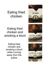 "Bad, Dank, and Meme: Eating fried DARK  chicken CHi  with  d chili  3.5  Eating fried  chicken and  smoking a blunt EXTRA DARK  Full-bodied cocoa flavor  WT  Eating fried  chicken and  smoking a blunt  while running  away from the  police  SUPREME DARK  Deticionsly intense, Surprisingly balanced <p>*bad and boujee plays* via /r/dank_meme <a href=""https://ift.tt/2J7zPSZ"">https://ift.tt/2J7zPSZ</a></p>"