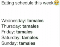 Be Like, Memes, and Schedule: Eating schedule this week  Wednesday: tamales  Thursday: tamales  Friday: tamales  Saturday: tamales  Sunday: tamales #Mexicans be #like ➡ Mexican Problems