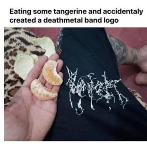 Good, Dank Memes, and Band: Eating some tangerine and accidentaly  created a deathmetal band logo What's a good name to go with it?
