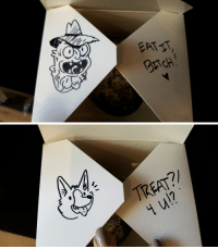 Funny and Coworking: EATIT  BrTCH:   AA  TREAT?)  u!? Valentine treat box art I did for my coworkers today