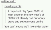 """Fire, Memes, and Live: eatitrecardo:  penelopgarcia:  if they dont play""""year 3000, at  least once on the new year's of  3000 i will literally rise out of my  grave and set everyone on fire  You can't cause we'll live under water -Iceprincess"""