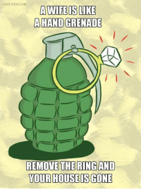 Memes, 🤖, and Eatliver: EATLIVER.COM  A WIFE IS LINE  AHANDGRENADE  REMOVE THERINGAND  YOUR HOUSE IS GONE