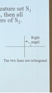 orthogonal: eature set S  , then all  rs of S2  Right  angel  The two lines are orthogonal