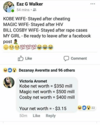 She roasted him 😩😩😩😩😩: Eaz G Walker  54 mins.  KOBE WIFE- Stayed after cheating  MAGIC WIFE- Stayed after HIV  BILL COSBY WIFE- Stayed after rape cases  MY GIRL Be ready to leave after a facebook  post  Like  Comment  Dezanay Averette and 96 others  Victoria Aromet  Kobe net worth = $350 mill  Magic net worth $500 mill  Cosby net worth $400 mill  Your net worth-$3.15 22  50m Like Reply She roasted him 😩😩😩😩😩