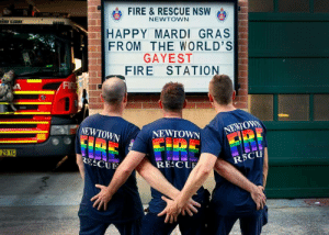 Fire, Happy, and Mardi Gras: eb FIRE & RESCUE NSW  NEWTOWN  HAPPY MARDI GRAS  FROM THE WORLD'S  GAYEST  FIRE STATION8  Fl  NEWTOWN  OWN▼ NEWTOWN  RECU HAPPY MARDI GRAS TO MY AUSTRALIAN FOLLOWERS