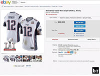 eBay, Sports, and Visa: ebay  Shop by  Search  category  K Back to search results  I Listed in category: Sports Mem, Cards & Fan Shop Game Used Memorabilia Football-NFL Jerseys  Tom By: commish6969  Worn Super Bowl Ll Jersey  Brady Game 2 viewed per hour  BRADY  Item condition  Game used, Falcons blew a 25 pt lead  Price: $50,000  Buy It Now  PATRIOTS  Add to cart  Best Offer:  Make Offer  24 watching  o Add to watch list  Add to collection  Experienced seller  25-day returns  6 inquiries  Shipping  $16.00 Expedited Shipping  l see detalls  Item location: Houston, Texas, United States  Ships to: United States  Delivery: Estimated on or before Thu. Feb. 09  SUPER BOWL  Payments:  Pay  Pal VISA  Crodit Cards procossed by PayPal  BRADY  Returns:  25-point second half comeback and overtime win guaranteed l see detalls  Have one to sell?  Sell now  b/r We found Tom's missing jersey! 😂😂😂