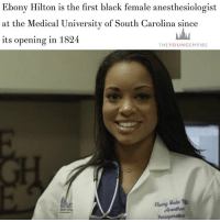 """MEET EBONY Hilton, the first black female anesthesiologist at the Medical University of South Carolina since its opening in 1824. . Ebony graduated from College as a triple major who studied biochemistry, molecular biology and inorganic chemistry in 2004. . She graduated from medical school in 2008, completed a four-year residency, and then finished a one-year critical care fellowship. . In 2013, she was hired as the first black female anesthesiologist at MUSC and chose to specialise in anesthesia because """"you can be useful in every part of the hospital"""". . Read the full story on our site (link in bio) . YoungEmpire 👑: Ebony Hilton is the first black female anesthesiologist  at the Medical University of South Carolina since  its opening in 1824  THE YOUN GEM PIRE  Ebay gade a MEET EBONY Hilton, the first black female anesthesiologist at the Medical University of South Carolina since its opening in 1824. . Ebony graduated from College as a triple major who studied biochemistry, molecular biology and inorganic chemistry in 2004. . She graduated from medical school in 2008, completed a four-year residency, and then finished a one-year critical care fellowship. . In 2013, she was hired as the first black female anesthesiologist at MUSC and chose to specialise in anesthesia because """"you can be useful in every part of the hospital"""". . Read the full story on our site (link in bio) . YoungEmpire 👑"""