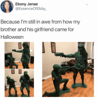 Halloween, Memes, and Ebony: Ebony Jenae  @EssenceOfEbby_  Because l'm still in awe from how my  brother and his girlfriend came for  Halloween Post 1458: this officially wins halloween 2018🎃
