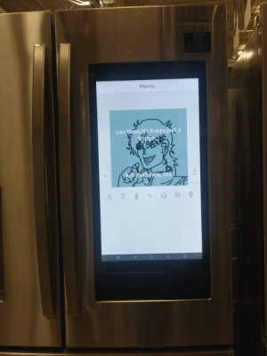 Saw this display fridge at a furniture store and had an amazing idea: EC  MOSAS  10  EA  RANTY  Memo  you thought it was just a  Ndge  butit was me, Dio!  Delete  T  REC  O Saw this display fridge at a furniture store and had an amazing idea