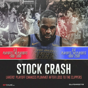 """Los Angeles Lakers, Clippers, and Crash: EC  RESOR  IS  3/3  PLAYOFFS/NO PLAYOFFS  +500/-1000  3/4  PLAYOFFSINO PLAYOFFS  +900/-2500  STOCK CRASH  LAKERS"""" PLAYOFF CHANCES PLUMMET AFTER LOSS TO THE CLIPPERS  BETONLINE.AG Last night spelled disaster for the Lakers. -- @la_lakeshow"""