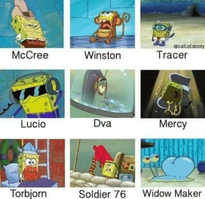 You can make a meme out of any SpongeBob episode honestly: ecallot.dooty  McCree  Tracer  Winston  Dva  Mercy  Lucio  Torbjorn  Widow Maker  Soldier 76  34 You can make a meme out of any SpongeBob episode honestly