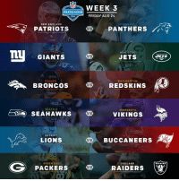 Preseason Week 3 continues tonight with 6 games! https://t.co/He2CmqFVOS: ECH  NFL  WEEK 3  PRESEASON  FRIDAY AUG 24  2018  PANTHERS AT  NEW ENGLAND  CAROLINA  PATRIOTS  Vs  ATs  NEW YORK  NEW YORK  GIANTS VSJETS  JETS  BRONCOS RED SKNS  DENVER  WASHINGTON  BRONCOS VS REDSKINS  SEATTLE  MINNESOTA  SEAHAW KS VS VIKINGS  DETROIT  TAMPA BAY  LIONS  Vs BUCCANEERS  G PACKERS  GREEN BAY  OAKLAND  RAIDERS  VS  RAIDERS Preseason Week 3 continues tonight with 6 games! https://t.co/He2CmqFVOS