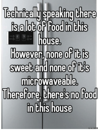 Dank, 🤖, and Sweets: echnicallu Speaking there  IS alOG (or rood in this  house.  However none of t s  Sweet and none of  microwaveable  Therefore theres no Food  inthis house  memes co Every time I look for food in my house.