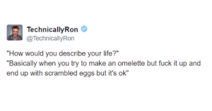 "Dank, Life, and Memes: echnicallvRon  @TechnicallyRon  ""How would you describe vour life?""  ""Basically when you try to make an omelette but fuck it up and  end up with scrambled eggs but it's ok"" me irl by _itsgomesz MORE MEMES"