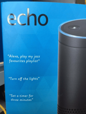 "Echo, Jazz, and Lights: echo  Alexa, play my jazz  favourites playlist""  Turn off the lights""  ""Set a timer for  three minutes""  03 An erotic short story in three acts"