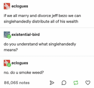 : eclogues  if we all marry and divorce jeff bezo we can  singlehandedly distribute all of his wealth  existential-bird  do you understand what singlehandedly  means?  eclogues  no. do u smoke weed?  >  86,065 notes