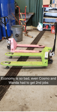 Bad, Funny, and Jobs: Economy is so bad, even Cosmo and  Wanda had to get 2nd jobs Times are tough