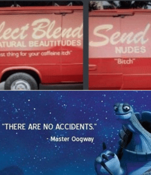 """Bitch, Nudes, and Dank Memes: ect Blend Send  ATURAL BEAUTITUDES  NUDES  est thing for your caffeine itch  Bitch  """"THERE ARE NO ACCIDENTS.  Master Oogway Hehe"""