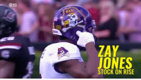 Remember the name. WR Zay Jones turned some heads this week at the Senior Bowl, capped off by 6 catches for 68 yards and a TD today.: ECU  ZAY  TONES  STOCK ON RISE Remember the name. WR Zay Jones turned some heads this week at the Senior Bowl, capped off by 6 catches for 68 yards and a TD today.