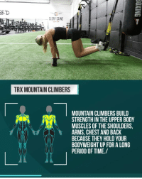Gym, Lay's, and Memes: ED  GLORY GAINS  GYM  TRX MOUNTAIN CLIMBERS  MOUNTAIN CLIMBERS BUILD  STRENGTH IN THE UPPER BOOY  MUSCLES OF THE SHOULDERS,  ARMS, CHEST AND BACK  BECAUSE THEY HOLD YOUR  BODYWEIGHT UP FOR A LONG  PERIOD OF TIME./ Never question what your next workout is going to be ever again. @hiitmax lays it out from start to finish for you every day. The best part is that it only takes 20 minutes! - Burn Fat. Not Time 👉 @hiitmax