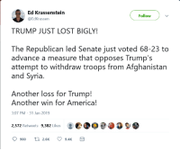 America, Tumblr, and Lost: Ed Krassenstein  @EdKrassen  Follow  TRUMP JUST LOST BIGLY!  The Republican led Senate just voted 68-23 to  advance a measure that opposes Trump's  attempt to withdraw troops from Afghanistan  and Syria  Another loss for Trump!  Another win for America!  3:07 PM-31 Jan 2019  2.572 Retweets 9,382 LikesO  Ọ900  2.6K  9.4K cookingwithroxy:  djpain619:  m4a1-shermayne:  crownedpatriot:  gestapoknallmuzik:  The only time Democrat and Republicans can work together is to ensure the right of your sons to kill random brown people and get blown up by an IED in some desert Another win for America!Another loss for warmongerer Trump! I guess      What joy. We are winning against Trump by having more people dying in a foreign land. We are such a peaceful people.