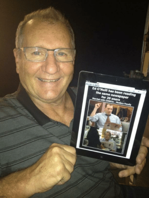 Family, Been, and Newspaper: Ed O'Neill has been reading  the same  for 20 years  Family Ed O'Neill has been reading about himself reading the same newspaper ...