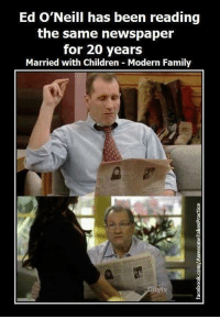 Memes, Modern Family, and 🤖: Ed O'Neill has been reading  the same newspaper  for 20 years  Married with Children Modern Family