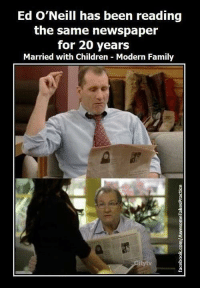 Children, Family, and Modern Family: Ed O'Neill has been reading  the same newspaper  for 20 years  Married with Children Modern Family <p>20 años leyendo lo mismo&hellip;</p>