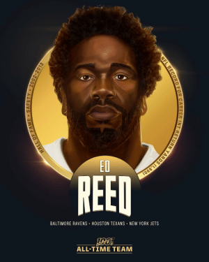 Ed Reed is one of the 6 safeties selected to the #NFL100 All-Time Team!  😈 5x All-Pro, 9x Pro Bowl selection 😈 2004 DPOY 😈 Super Bowl XLVII Champion 😈 64 career INTs, led NFL in INTs in 3 seasons ('04, '08, '10) 😈 Most career INT return yards in NFL history https://t.co/ptIcjl6qtP: ED  REED  BALTIMORE RAVENS · HOUSTON TEXANS • NEW YORK JETS  ALL-TIME TEAM  HALL OF FAME - SAFETY - 2002-2013  NFL RECORD FOR CAREER INT RETURN YARDS (1,590) Ed Reed is one of the 6 safeties selected to the #NFL100 All-Time Team!  😈 5x All-Pro, 9x Pro Bowl selection 😈 2004 DPOY 😈 Super Bowl XLVII Champion 😈 64 career INTs, led NFL in INTs in 3 seasons ('04, '08, '10) 😈 Most career INT return yards in NFL history https://t.co/ptIcjl6qtP
