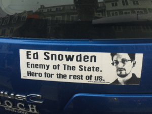 My friends awesome bumper sticker: Ed Snowden  Enemy of The State  Hero for the rest of us.  www.donnellycolt.com  boch.com My friends awesome bumper sticker