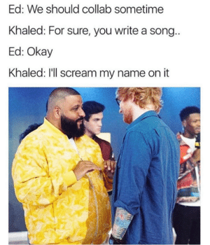 Sounds like a plan.: Ed: We should collab sometime  Khaled: For sure, you write a song  Ed: Okay  Khaled: I'll scream my name on it Sounds like a plan.