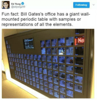 Because when you're the world's richest person, only the best periodic table will do.  Image: Ed Yong/Twitter: Ed Yong  Following  @edyong209  Fun fact: Bill Gates's office has a giant wall-  mounted periodic table with samples or  representations of all the elements.  Ne Because when you're the world's richest person, only the best periodic table will do.  Image: Ed Yong/Twitter