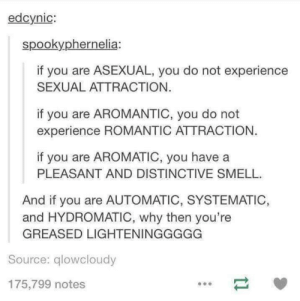 Dancing, Smell, and Asexual: edcynic:  spookyphernelia:  if you are ASEXUAL, you do not experience  SEXUAL ATTRACTION.  if you are AROMANTIC, you do not  experience ROMANTIC ATTRACTION.  if you are AROMATIC, you have a  PLEASANT AND DISTINCTIVE SMELL  And if you are AUTOMATIC, SYSTEMATIC,  and HYDROMATIC, why then you're  GREASED LIGHTENINGGGGG  Source: qlowcloudy  175,799 notes Greased Lightning *bursts out dancing*