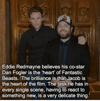 "Memes, Heart, and Star: Eddie Redmayne believes his co-star  Dan Fogler is the heart of Fantastic  Beasts. ""The brilliance is that Jacob is  the heart of the film. The task he has in  every single scene, having to react to  something new, is a very delicate thing. qotd : comment ""😏"" if you knew this and ""😱"" if you didn't."