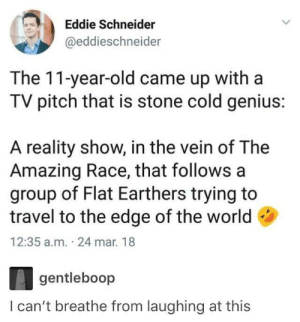 I would watch it: Eddie Schneider  @eddieschneider  The 11-year-old came up with a  TV pitch that is stone cold genius:  A reality show, in the vein of The  Amazing Race, that follows a  group of Flat Earthers trying to  travel to the edge of the world  12:35 a.m. 24 mar. 18  gentileboop  l can't breathe from laughing at this I would watch it