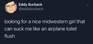 How much does one cost?: Eddy Burback  @eddyburback  looking for a nice midwestern girl that  can suck me like an airplane toilet  flush How much does one cost?