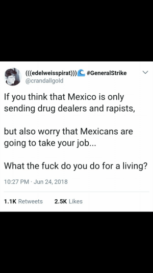 Drugs, Tumblr, and Blog: (((edelweisspirat)))& #GeneralStrike  @crandallgold  If you think that Mexico is only  sending drug dealers and rapists,  but also worry that Mexicans are  going to take your job.  What the fuck do you do for a living?  10:27 PM Jun 24, 2018  1.1K Retweets  2.5K Likes whitepeopletwitter:  Drugs, rape and immigrants…