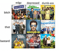 Superstore: edgy depressed dumb-ass  Roommates. Lovers. Idiuts.  Parks  community  Receation  bitch  the office  FoX  Superstore  thot  BROOKLYNNINE-NINE  ALWAYS 7  IN  ELPHIA  bastard  onedaY  timed Place  The  A NETFLIK ORIGINAL SERIES