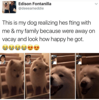Family, Memes, and Edison: Edison Fontanilla  @deeeameddie  This is my dog realizing hes fting with  me & my family because were away on  vacay and look how happy he got.