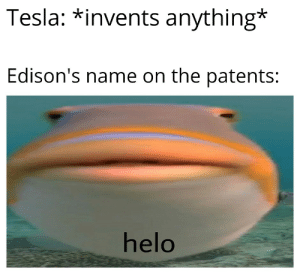 Edison had only 1 invention, and even then he had to steal the design from Tesla because he made a better version.: Edison had only 1 invention, and even then he had to steal the design from Tesla because he made a better version.