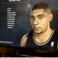 Since everyone is making videos of players not being loyal, here's someone who stayed true to the Spurs till the end💯 Tim Duncan 'The Big Fundamental' 🔥🔥🙏🏽: Edit  NBA  Playe  VITALS  BODY  SHOES/GEAR  ACCESSORIES  ATTRIBUTES  TENDENCIES  HOT ZONES  SIGNATURE  CONTRACT  BADGES  Rotate Player O Back Since everyone is making videos of players not being loyal, here's someone who stayed true to the Spurs till the end💯 Tim Duncan 'The Big Fundamental' 🔥🔥🙏🏽