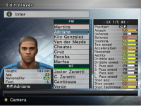 Ass, Camera, and Power: Edit player  Inter  FW  LI 1/5 RT  Martins  Adriano  Kily GonzálezBalance  Van der Meyde Stamina  Choutos  Cruz  Recoba  Morfeo  Position  Attack  Defence  CF  36  98  84  Top speed  Acceleration 90  Response  Agility  Dribble acc.  Dribble speed  S. Pass acc.  S. Pass speed 78-  81  82  86  MF  70  Heisht  Age  Nationality  Foot  ass acC  68  23  C. Zanetti  Cambiasso  Verón  L. Pass speed 88  Shot acc  Shot power  Shot Technique 88  CF Adriano  o Camera Hoy Adriano cumple 36 años!!! 🎂 Felicidades Emperador!!! Jugador muy chetado en el PES 😂🎮