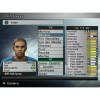 Memes, 🤖, and Powers: Edit player  O Inter  FW  LT 1/5 RT  Martins  Position  Attack  Adriano  Defence  Kily Gonzalez  Balance  Van der Meyde  Stamina  Top speed  883  Choutos  Acceleration  90  81  Cruz  Response  Recoba  Agility  82  Dribble acc  86  Morfeo  Dribble speed  82.  MF  S. Pass acc  S. Pass speed 78  189 cm Javier Zanetti  L. Pass acc  68  Height  23 C. Zanetti  L. Pass Speed  88  L Cambiasso  Shot acc  Shot power  Age  Nationality  Foot  cF Adriano  Veron  Shot Technique  88  D Camera . . . - الذكريات الجميله 😂 .
