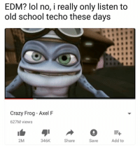 axel: EDM? lol no, i really only listen to  old school techo these days  Crazy Frog - Axel F  627M views  2M  346K  Share  Save  Add to