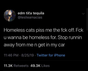 meirl: edm tila tequila  @leslieamacias  Homeless cats piss me the fck off. Fck  u wanna be homeless for. Stop runnin  away from me n get in my car  11:46 PM 8/25/19 Twitter for iPhone  11.3K Retweets 49.3K Likes meirl
