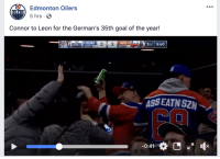 edmonton oilers: Edmonton Oilers  5 hrs S  Connor to Leon for the German's 35th goal of the year!  EDM  SHOTS  AS5 EATN SZN  0:41